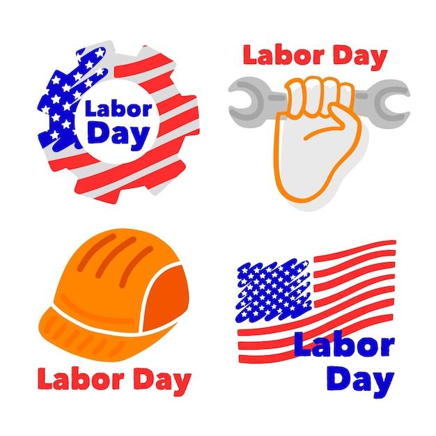 Conjunto de emblemas do dia do trabalho dos eua Vetor grátis