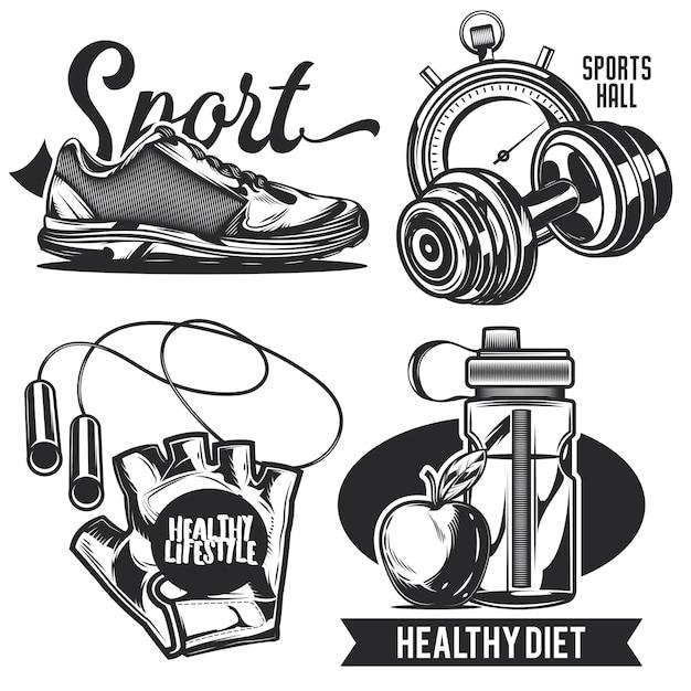 Conjunto de emblemas do esporte, etiquetas, emblemas, logotipos. Vetor grátis