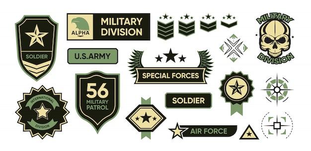 Conjunto de emblemas do exército Vetor grátis