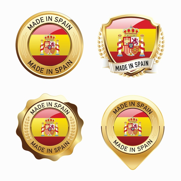 Conjunto de emblemas do made in spain Vetor Premium