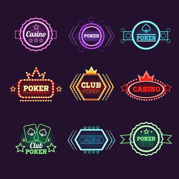 Conjunto de emblemas do neon light poker club e casino Vetor Premium