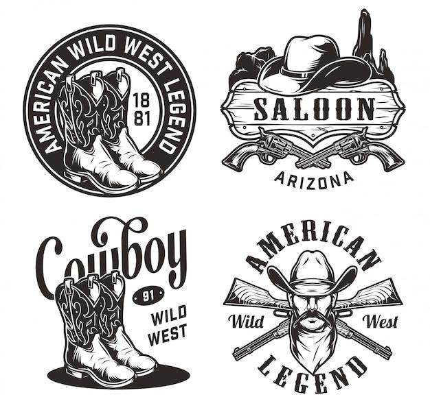Conjunto de emblemas do oeste selvagem vintage Vetor grátis