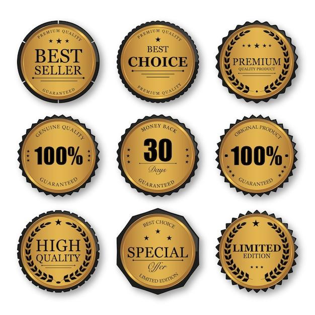 Conjunto de emblemas e etiquetas de selo dourado de qualidade premium Vetor Premium