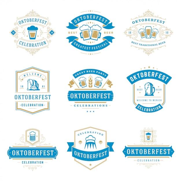 Conjunto de emblemas e logotipos da oktoberfest Vetor Premium