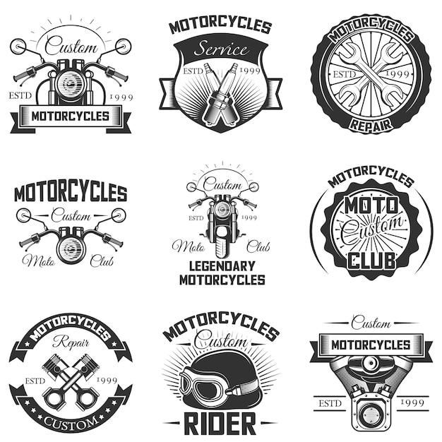 Conjunto de emblemas e logotipos de motocicletas vintage Vetor Premium