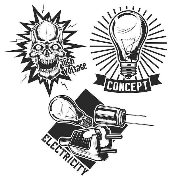 Conjunto de emblemas elétricos antigos Vetor grátis