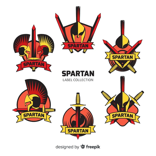 Conjunto de emblemas espartanos Vetor grátis