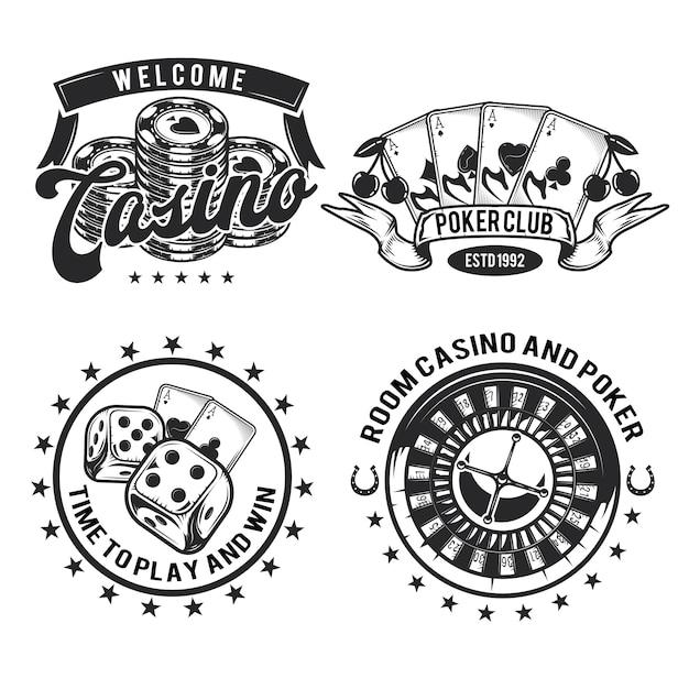 Conjunto de emblemas, etiquetas, distintivos, logotipos de elementos de cassino (cartões, fichas e roleta). isolado no branco Vetor grátis