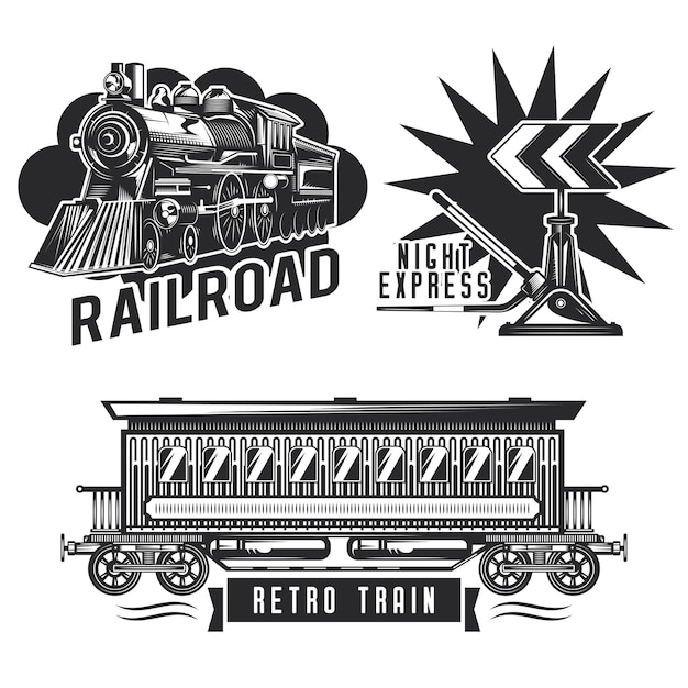 Conjunto de emblemas ferroviários antigos Vetor grátis