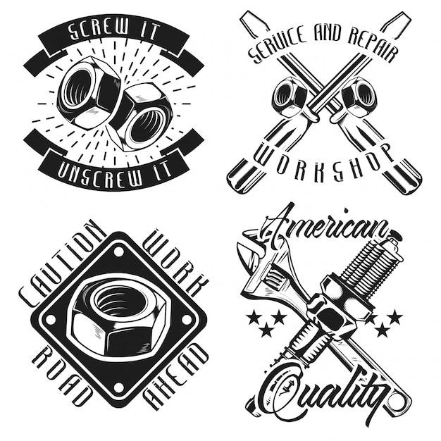 Conjunto de emblemas mecânicos vintage Vetor Premium