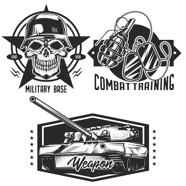 Conjunto de emblemas militares, etiquetas, emblemas, logotipos. isolado no branco Vetor Premium