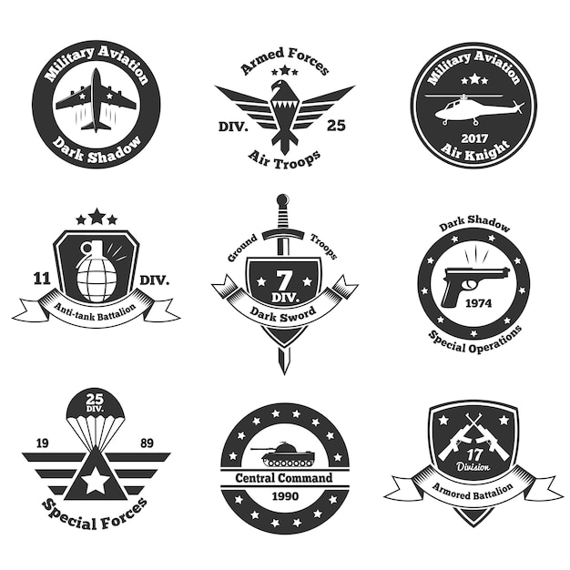 Conjunto de emblemas militares monocromáticos Vetor grátis
