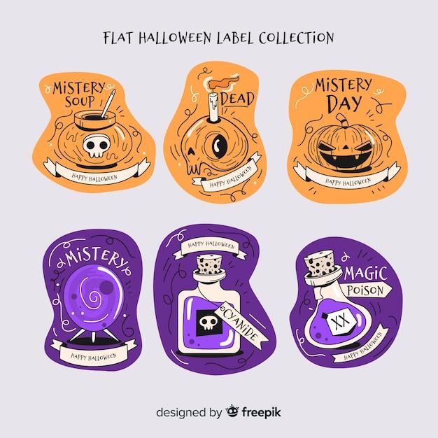 Conjunto de emblemas modernos de halloween Vetor grátis