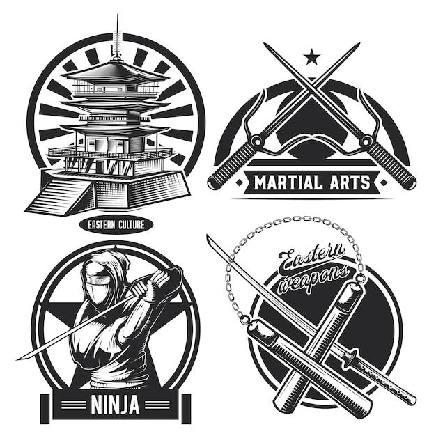 Conjunto de emblemas ninja vintage Vetor grátis