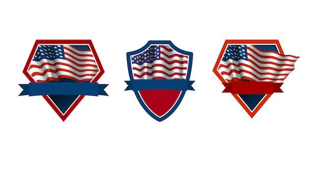Conjunto de emblemas patrióticos com bandeira dos eua Vetor Premium
