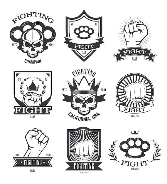 Conjunto de emblemas planos de tatuagem gangsta. remendos de gangster e membro de gangue de rua com caveira, arma, punho ou coleção de ilustração vetorial isolado de knuckle-duster. clube de luta e poder Vetor grátis