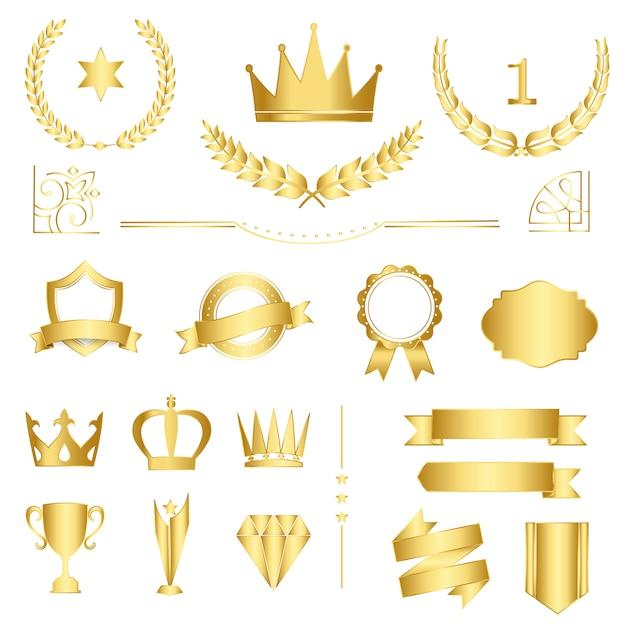 Conjunto de emblemas premium e banners vector Vetor grátis