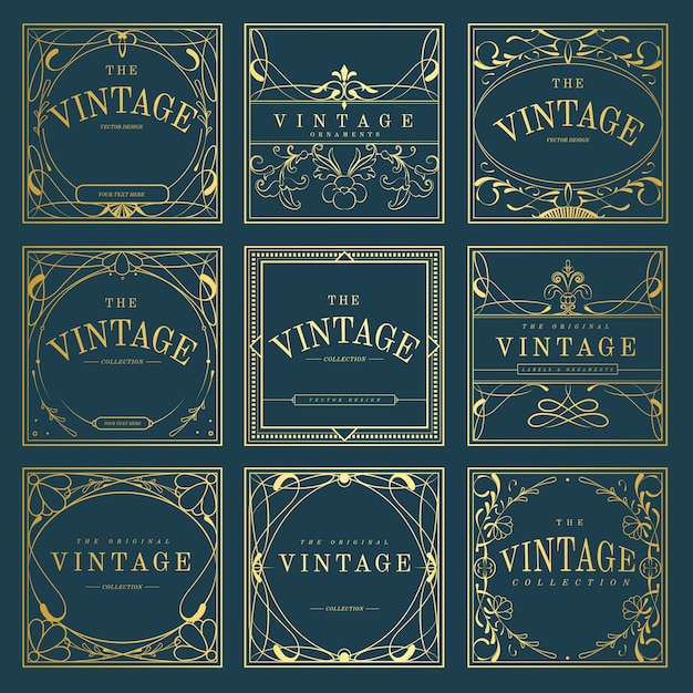 Conjunto de emblemas vintage art nouveau dourado no vetor azul Vetor grátis