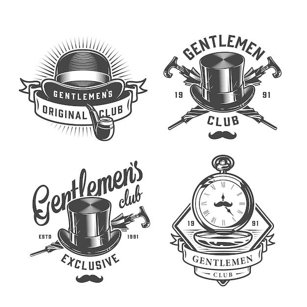 Conjunto de emblemas vintage cavalheiro monocromático Vetor grátis