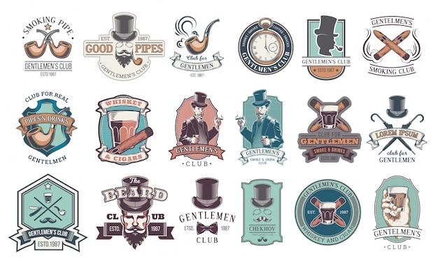 Conjunto de emblemas vintage cavalheiro, rótulos. Vetor grátis