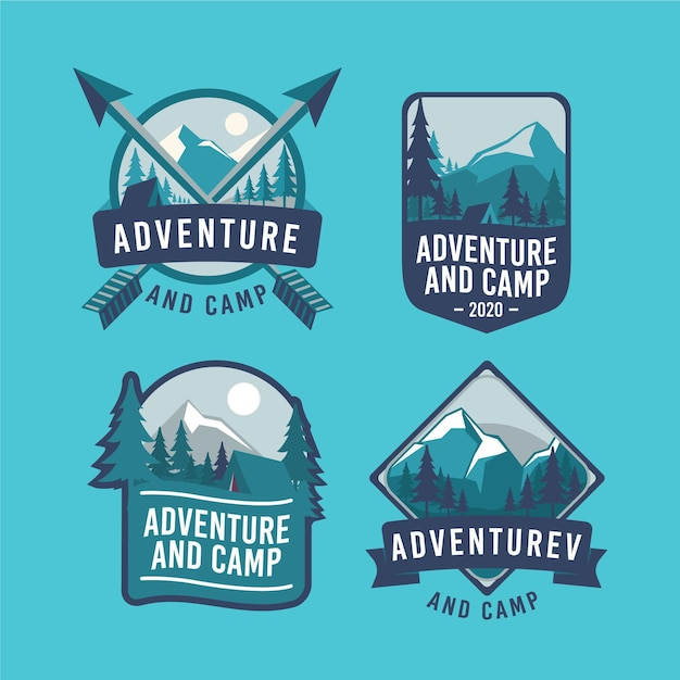 Conjunto de emblemas vintage de acampamento e aventuras Vetor grátis