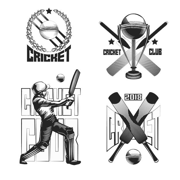 Conjunto de emblemas vintage de críquete isolado no branco Vetor grátis