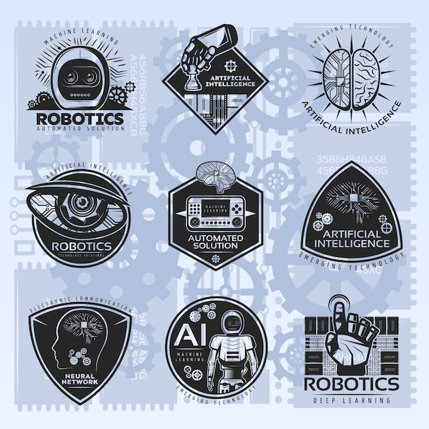 Conjunto de emblemas vintage de inteligência artificial Vetor grátis