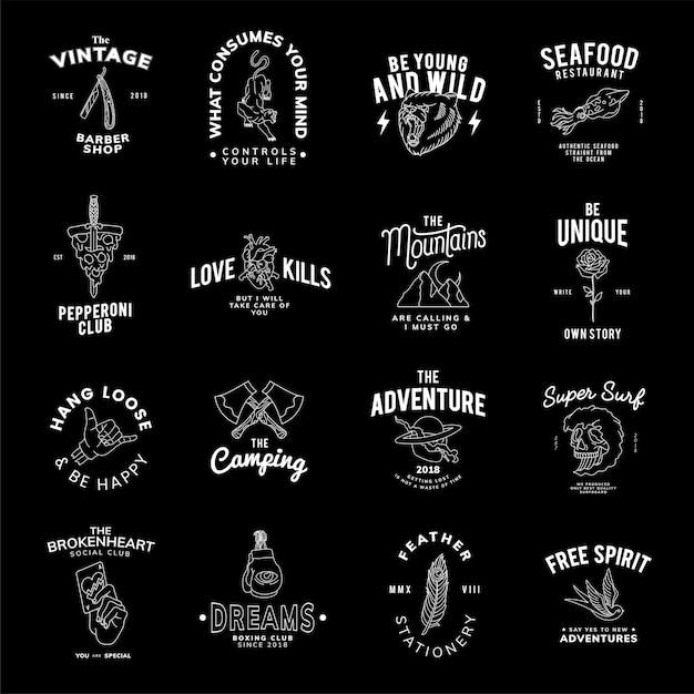 Conjunto de emblemas vintage design vector Vetor grátis
