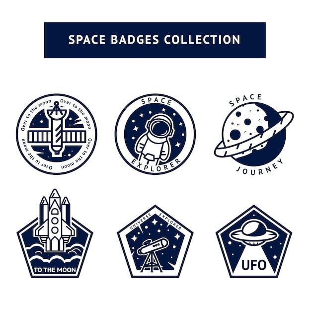 Conjunto de emblemas vintage espaço monocromático e astronauta Vetor Premium