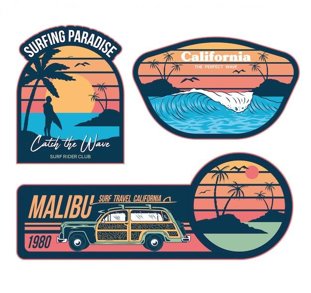 Conjunto de emblemas vintage ilustrações de design gráfico com impressões de moda no cartaz de patches de adesivos de roupas de camiseta. estilo de férias de verão na califórnia com ondas surf palmas frases na moda carros antigos de viagens Vetor Premium