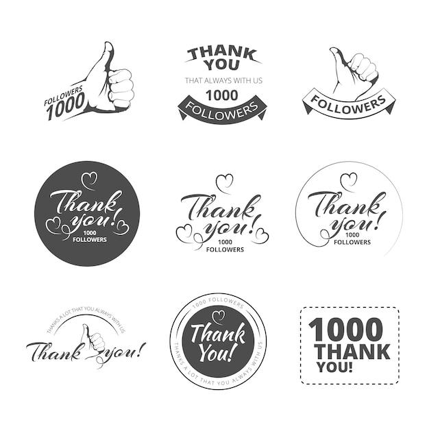 Conjunto de emblemas vintage obrigado Vetor Premium