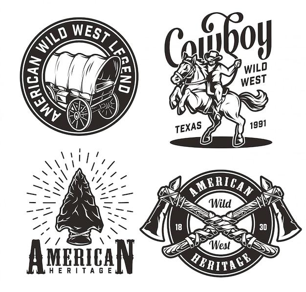 Conjunto de emblemas vintage oeste selvagem monocromático Vetor grátis