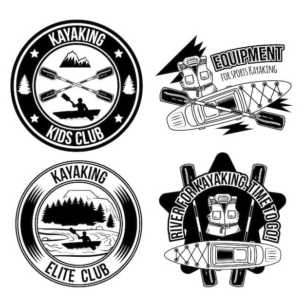Conjunto de emblemas vintage para caiaque Vetor grátis