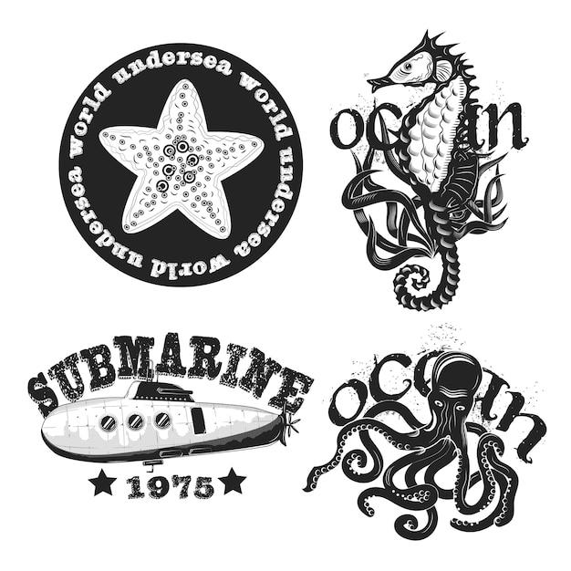 Conjunto de emblemas vintage subaquáticos isolado no branco Vetor grátis