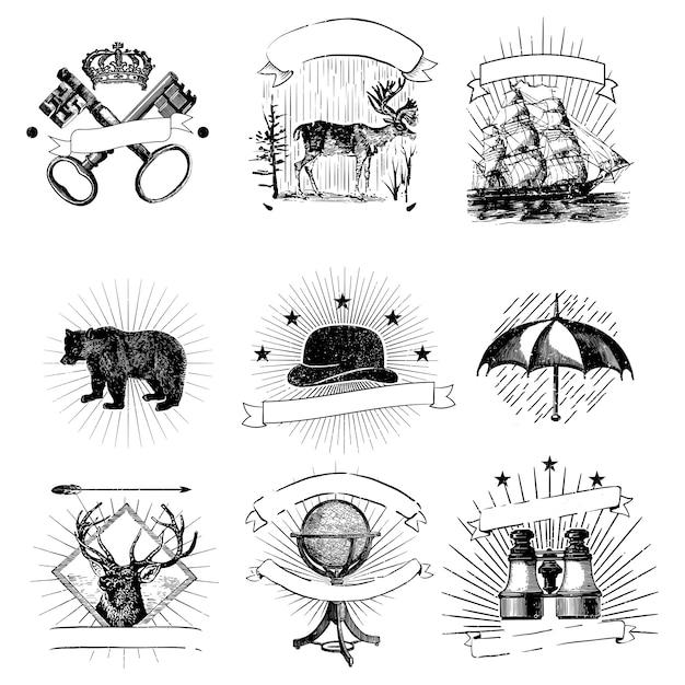 Conjunto de emblemas vintage vector Vetor grátis