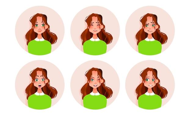 Conjunto de emoções da mulher. Vetor Premium