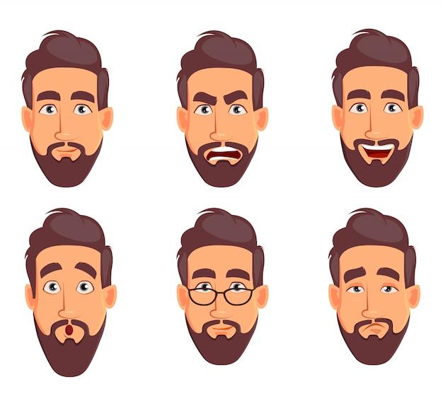 Conjunto de emoções masculinas diferentes. personagem de desenho animado bonito Vetor Premium