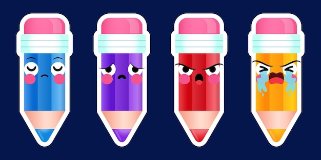 Conjunto de emoções negativas com adesivos de lápis bonitos de desenho animado Vetor Premium