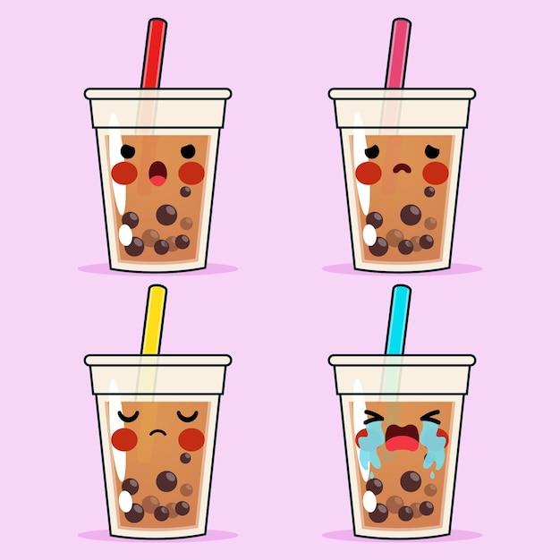 Conjunto de emoções negativas de rosto de avatar com emoticons de chá de bolinhas fofinho ou chá de pérolas de desenho Vetor Premium