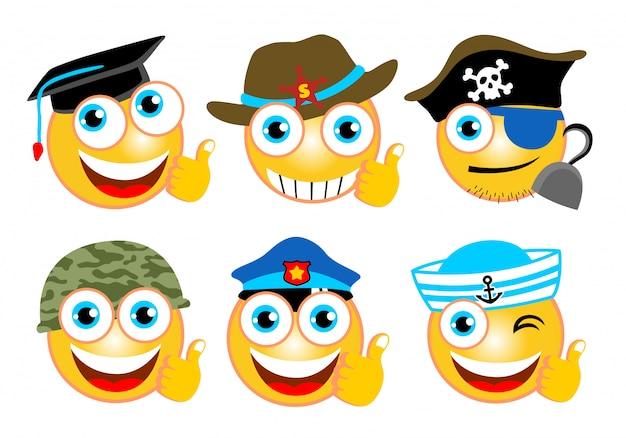 Conjunto de emoji cartoon com diferentes caps Vetor Premium