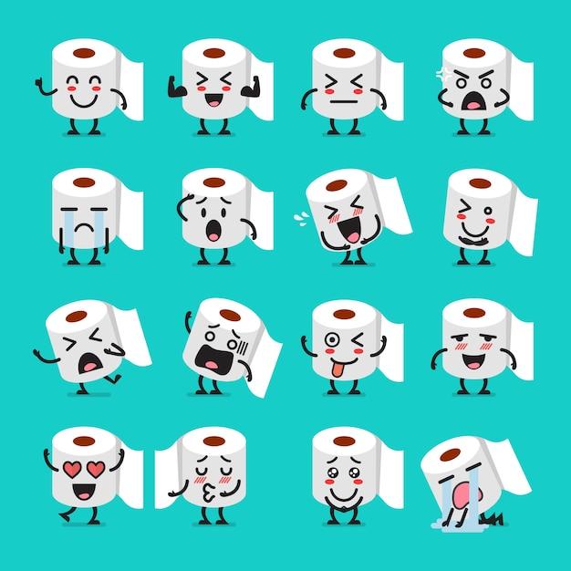 Conjunto de emoji de papel de seda Vetor Premium