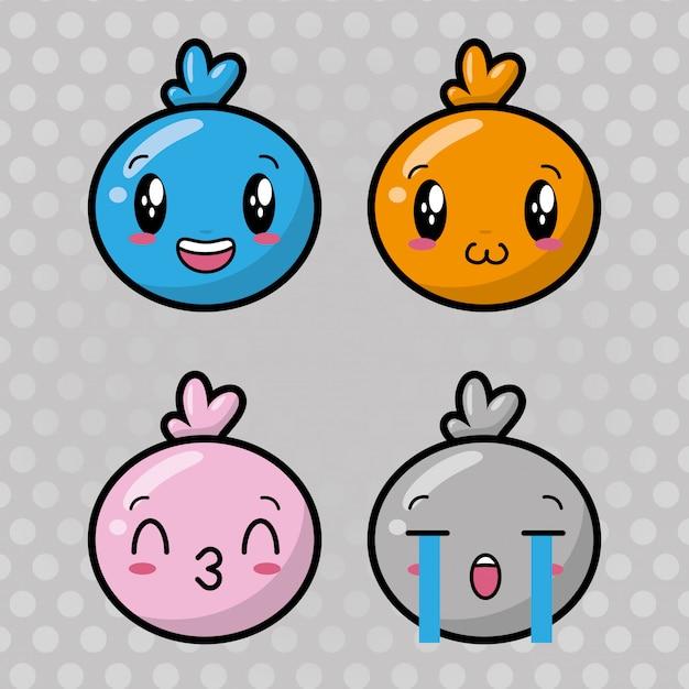 Conjunto de emojis kawaii felizes Vetor grátis