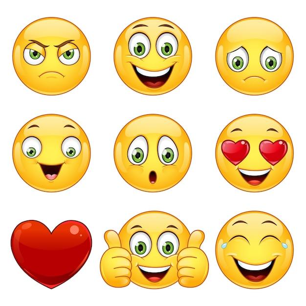 Conjunto de emoticons amarelos. Vetor Premium