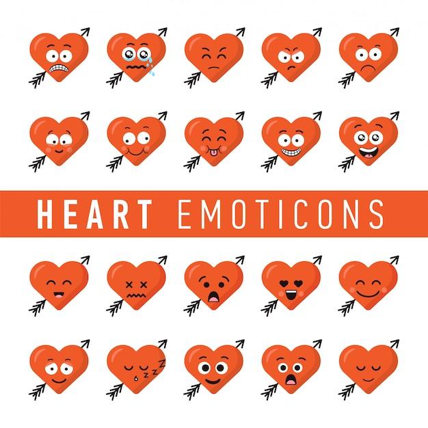 Conjunto de emoticons de coração estilo design plano Vetor Premium