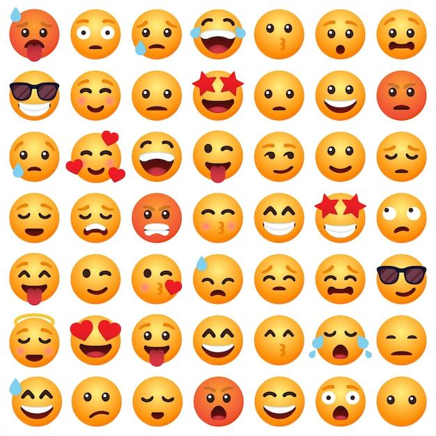 Conjunto de emoticons de desenhos animados emoticon sorrir para mídias sociais Vetor Premium