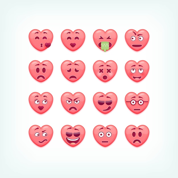 Conjunto de emoticons de forma de coração. smileys românticos e de dia dos namorados, emojies. Vetor Premium