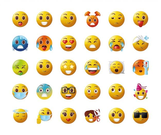 Conjunto de emoticons em fundo branco Vetor Premium