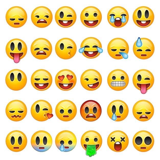 Conjunto de emoticons, emoji isolado no fundo branco, ilustração. Vetor Premium