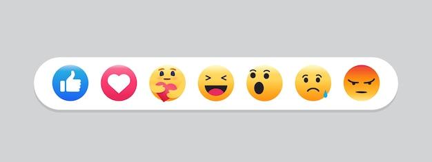 Conjunto de emoticons. emoji social media. Vetor Premium