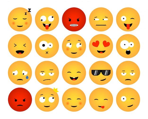 Conjunto de emoticons isolados no fundo branco. design plano de coleções de emoji para mídia social, web, impressão, aplicativos. ilustração Vetor Premium